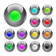 Glossy colorful metal button — Stock Vector