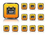 Calendar month icon set — Stock Vector