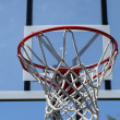 Outdoor basketball hoop with net and backboard — Stock Photo #3476479