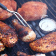 Cooking pieces of chicken on barbecue grill — Stock Photo