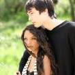 Young teen boy and girl outdoor portrait — Stock Photo