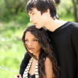 Young teen boy and girl outdoor portrait — Stock Photo #3514305