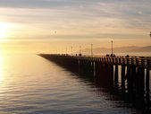 Long Fishing Pier stretching out into bay — Stock Photo