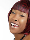Young black woman with open mouth laugh — Stock Photo