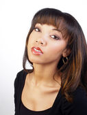 Young black woman portrait head tilted back — Stock Photo