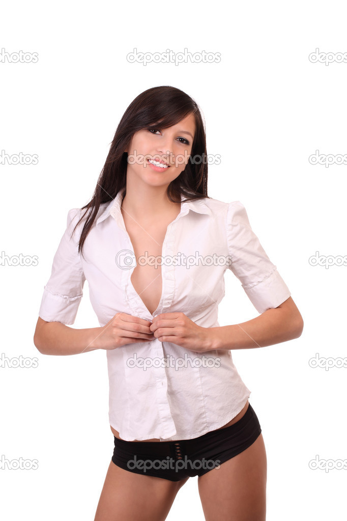Young woman in white shirt and black panties — Stock Photo #3774328