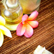 Spa items and tropical flowers — Stock Photo