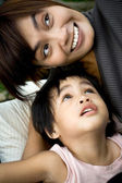 Happy asian mother and son — Stock Photo
