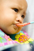 Baby eat meal — Stock Photo