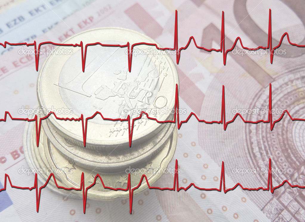 Close up of Euro coins overlaid with ECG Graph  Stock Photo #3023512