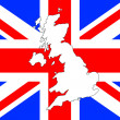 UK map and flag - Stock Photo