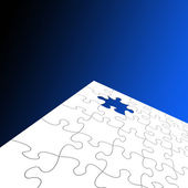White jigsaw over blue — Stock Photo
