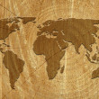 World map on wood surface — Stock Photo