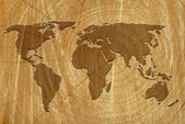 World map on wood surface — Stock Photo