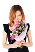 Pretty Woman Posing with Flowers — Stock Photo