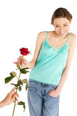 Happy Cheerful Woman on Valentine Day — Stock Photo