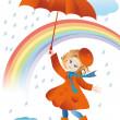 Walk in the rain — Stock Vector