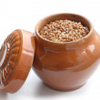Pot with buckwheat porridge — Stock Photo