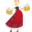 Bavarian woman with beer — Imagen vectorial