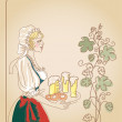 Bavarian woman with beer — Stock Photo
