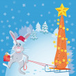 Rabbit with Santa Claus hat — Stock Vector #3759506