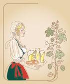 Kobieta bawarskie piwo — Wektor stockowy