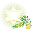 Jewish holiday of Sukkot Holiday — 图库矢量图片