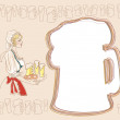 Bavarian woman with beer — Stock Vector