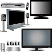 LCD TV, dvd player — Stock Vector