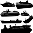 Ships and cruise ship - Stok Vektr