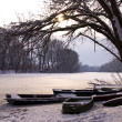 Winter lake landscape — Stock Photo