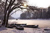 Winter lake landscape — Stockfoto