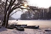 Zimą jezioro krajobraz — Zdjęcie stockowe
