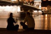 Luzes da noite em budapeste — Foto Stock