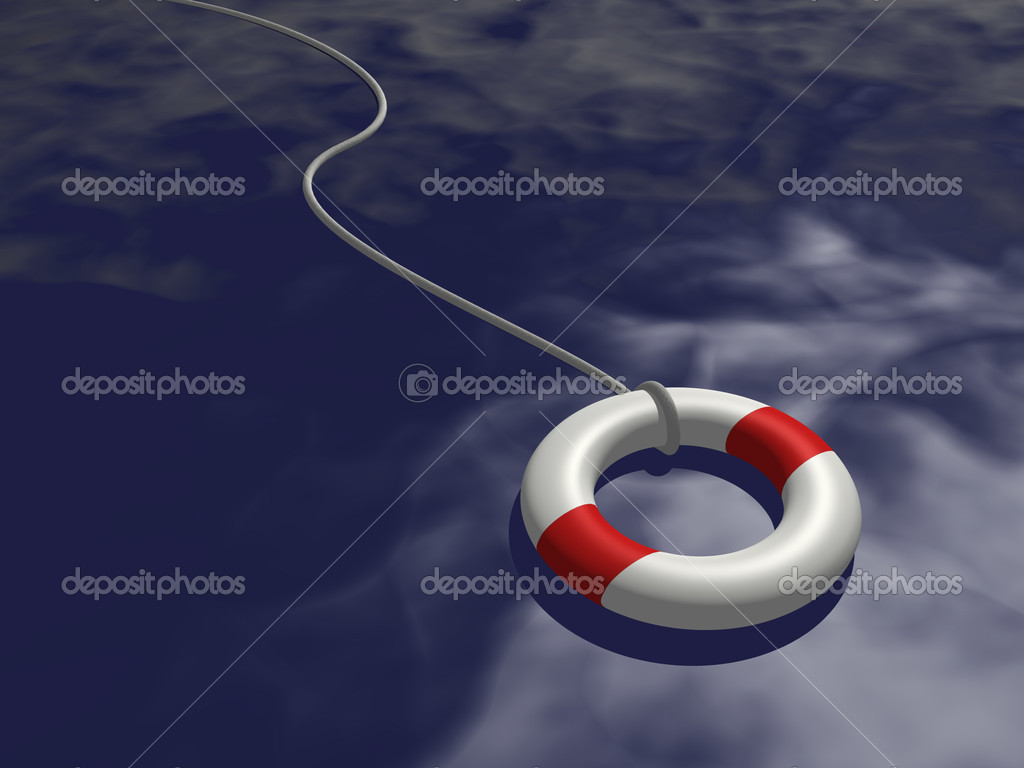 Image of a life preserver floating on blue water. — Stock Photo #2950882