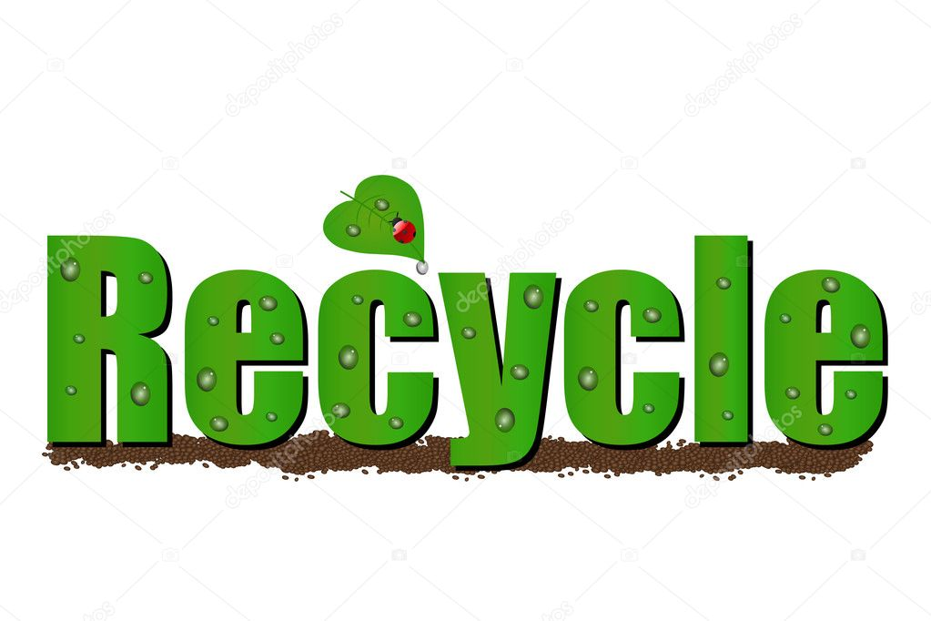 Illustration of the word Recycle on a white background — Stock Vector #3036915