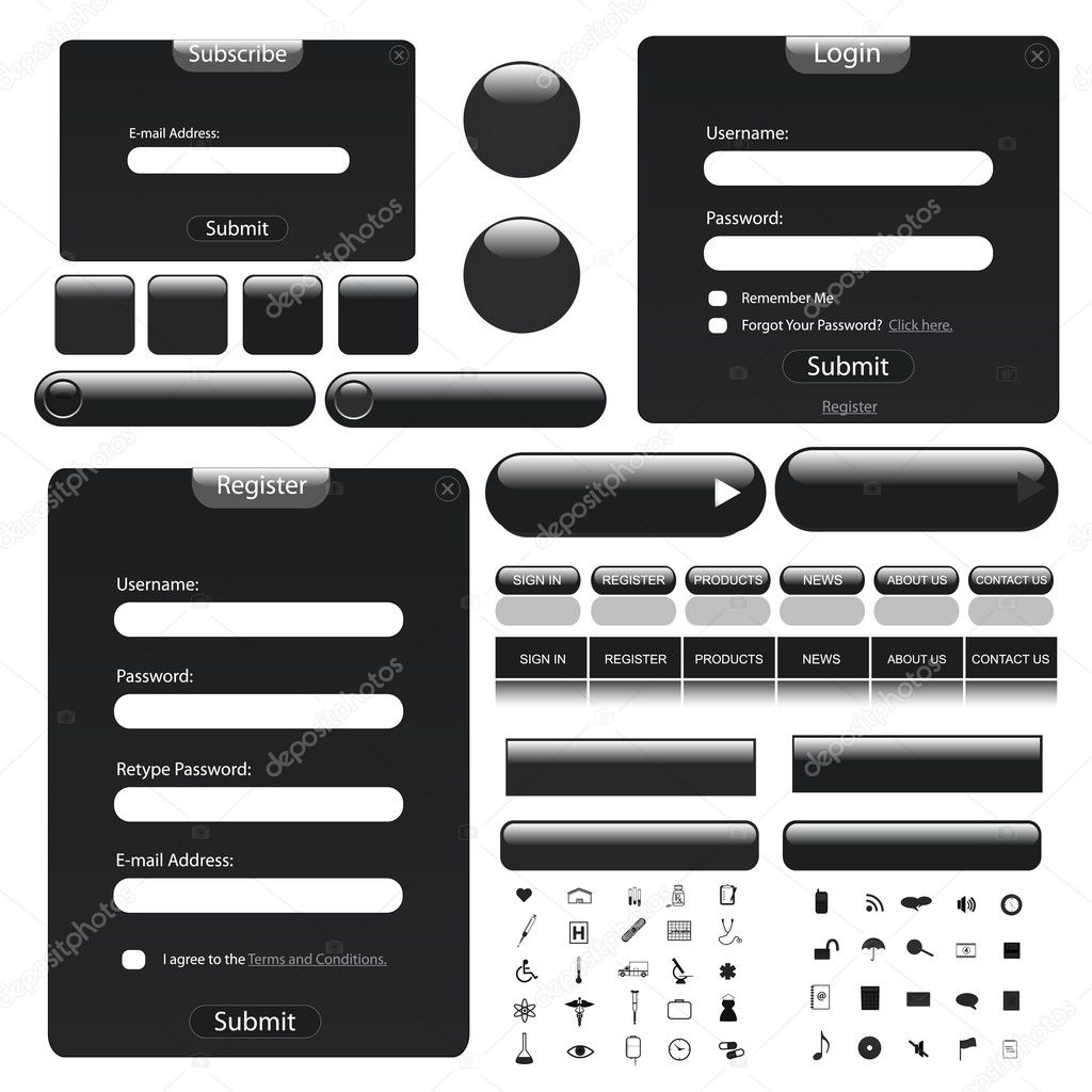 Black theme web template with forms, bars, buttons and many icons! — Stock Vector #3461366