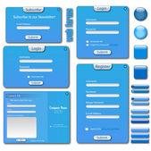 Blauwe websjabloon. — Stockvector