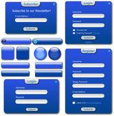 Blå webbmall. — Stockvektor