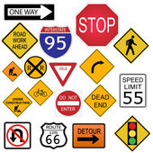 Las señales de tráfico — Vector de stock