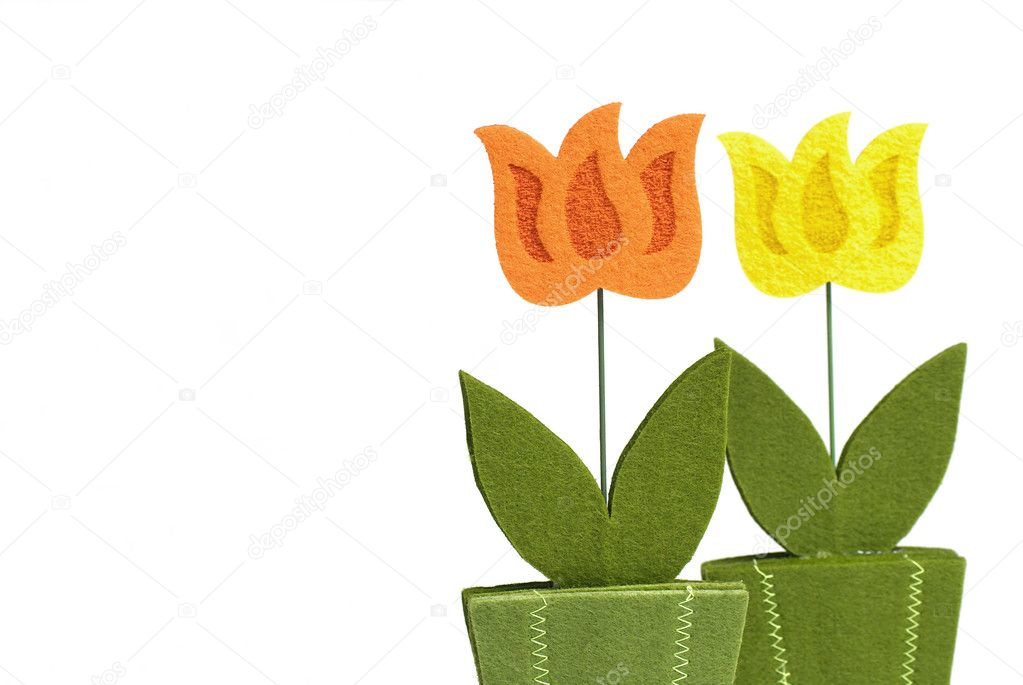 Flower decoration from felt isolated on white background. — Stock Photo #2849062