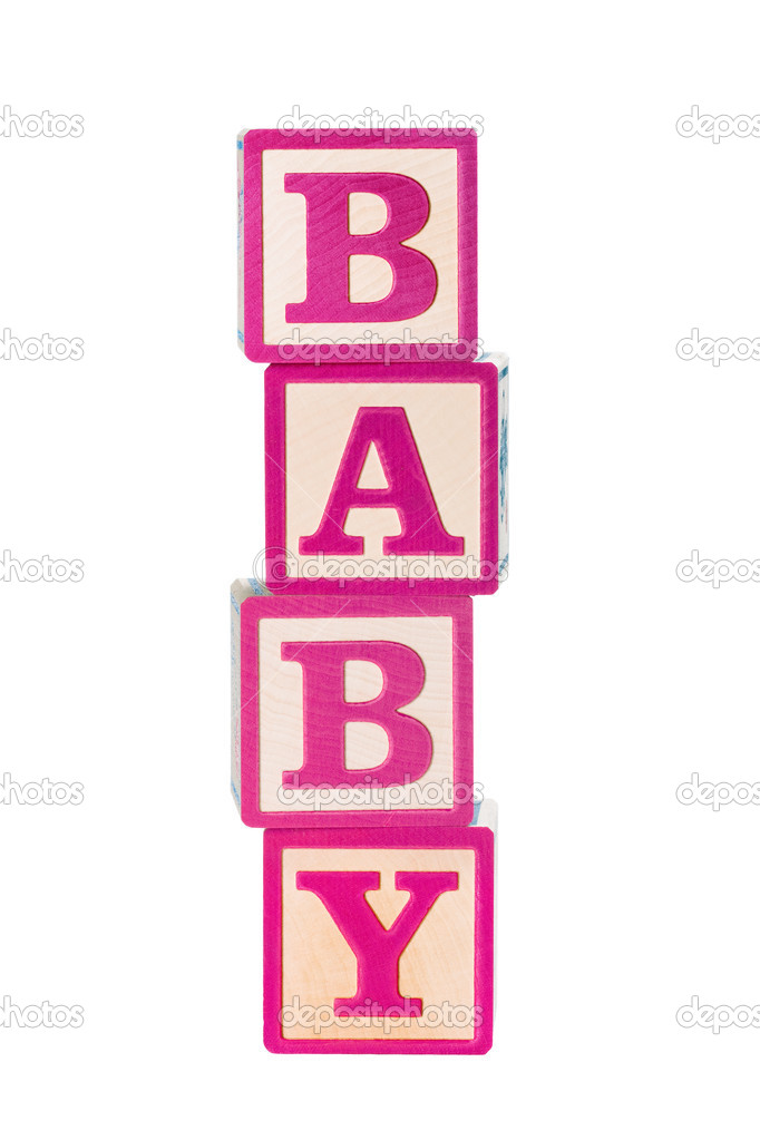 Pink wooden baby building blocks — Stock Photo #2843901