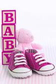 Pink baby shoes — Stock Photo