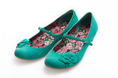 Ladies green suede shoes — Stock Photo