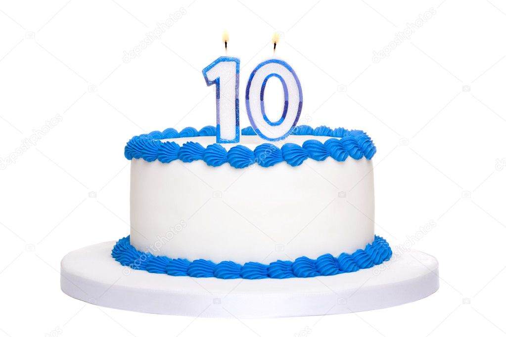 Birthday cake decorated with blue frosting and number ten candles — Stock Photo #3176967