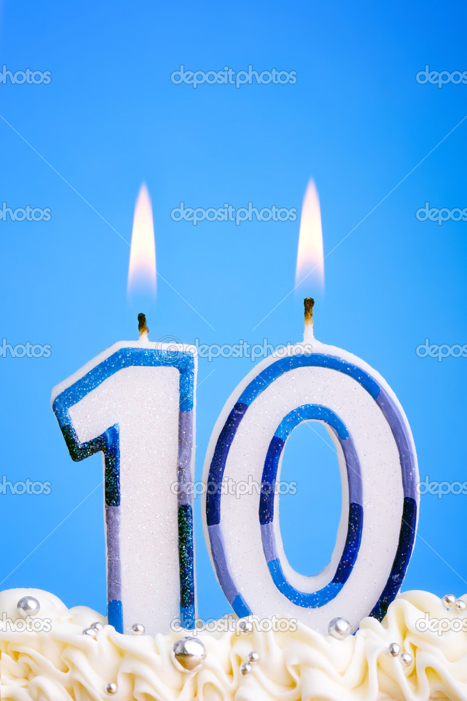 Candles for a tenth birthday or anniversary  Stock Photo #3367601