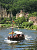 Tourist boat on the Dordogne River, France — Stock Photo