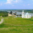 Khotyn Fortress and church — Stock Photo