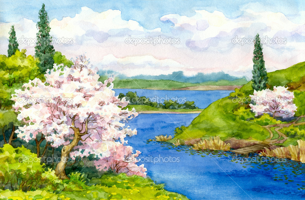 Winding River Drawing Watercolor Drawing Flowering Trees on The Banks of The Winding River