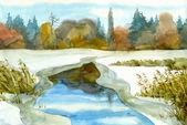 Lago de inverno — Fotografia Stock